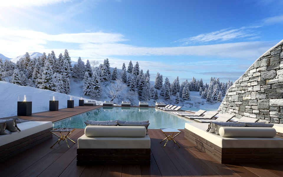 Swimming pool with spa and clinic Chalet Crans Montana 1