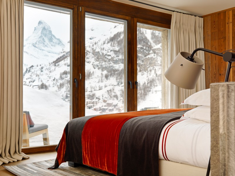 alpine views form the bedrooms Les Anges chalet in Zermatt