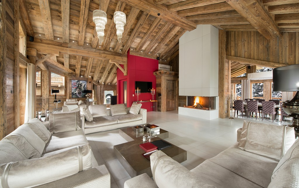 Lit up fireplace interior of Chalet Owens in Courchevel 1850