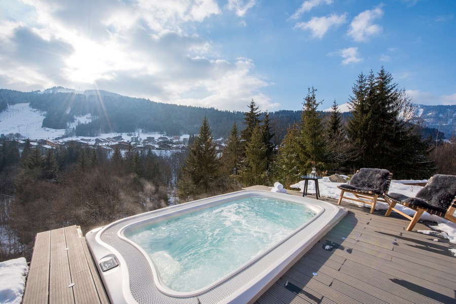 Main Hot tub terrace views of alps from chalet Sapphire in Morzine