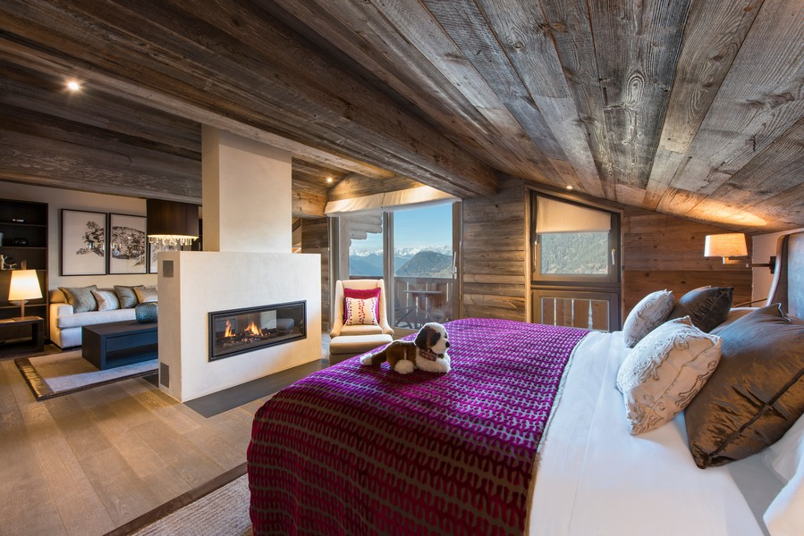 Master suite with Alpine views The Lodge Verbier of Sir Richard Branson