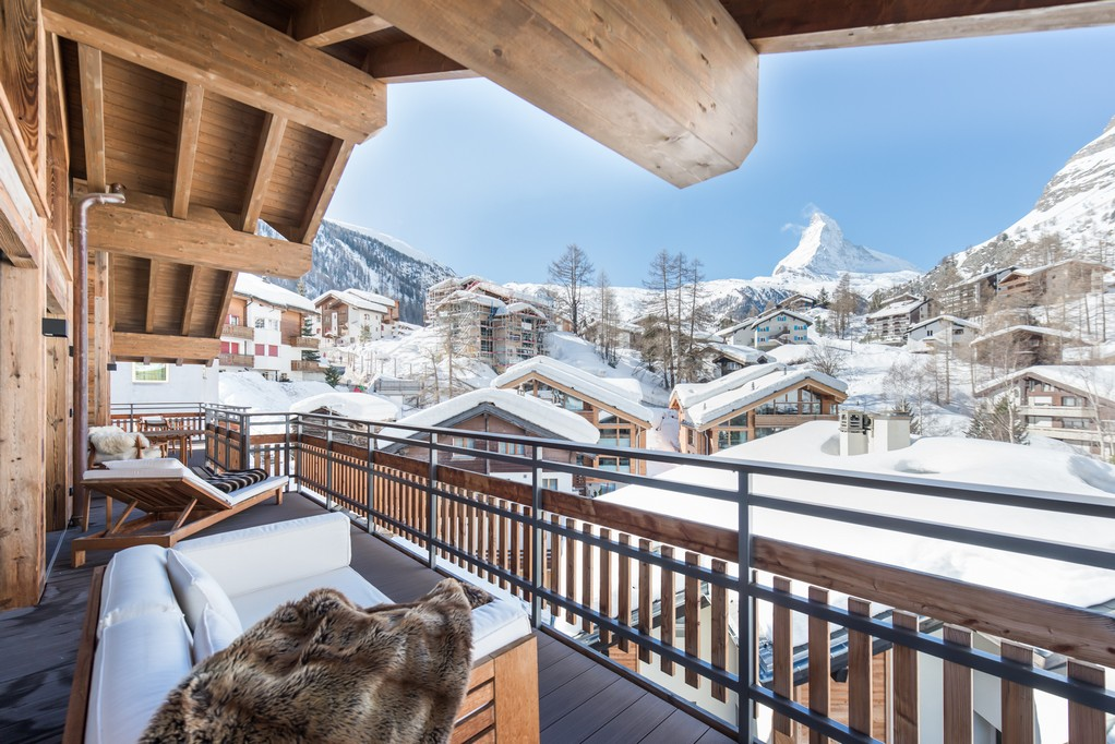 Matterhorn views from balcony terrace Aria Penthouse Chalet in Zermatt