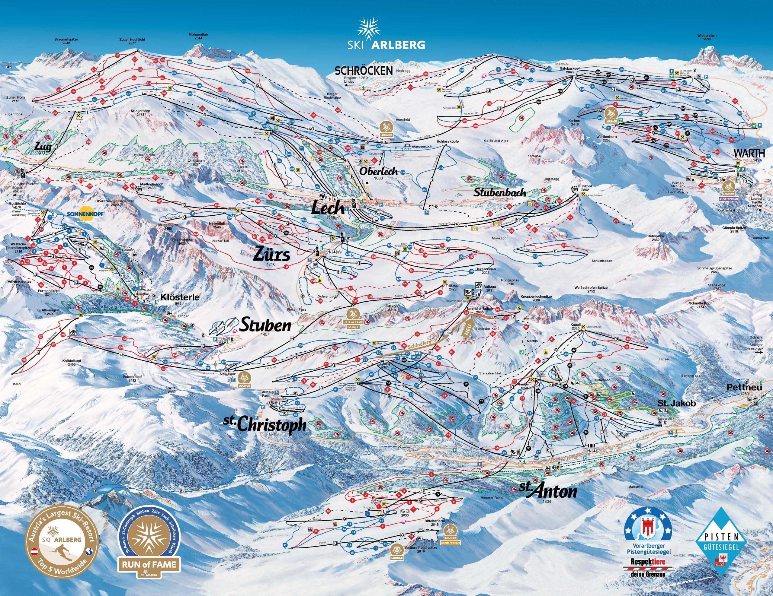 St Anton Piste Map