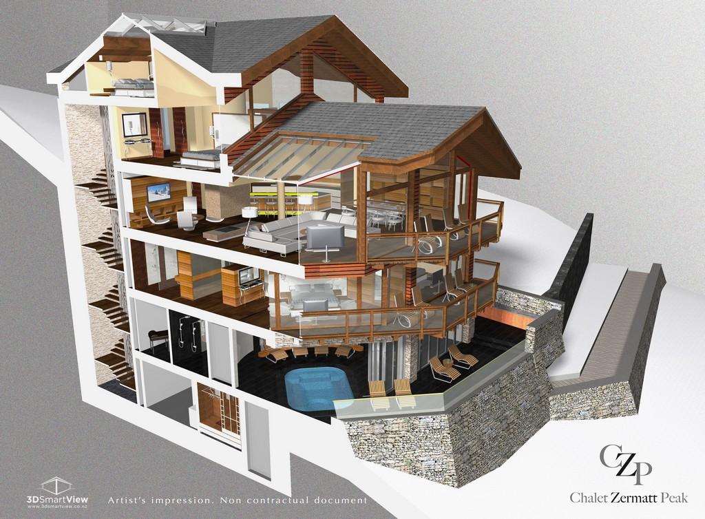 Overall layout floor plan of Chalet Zermatt Peak