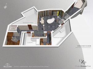 Ground Floor plan Chalet Zermatt Peak