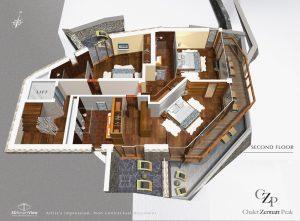 2nd Floor plan Chalet Zermatt Peak