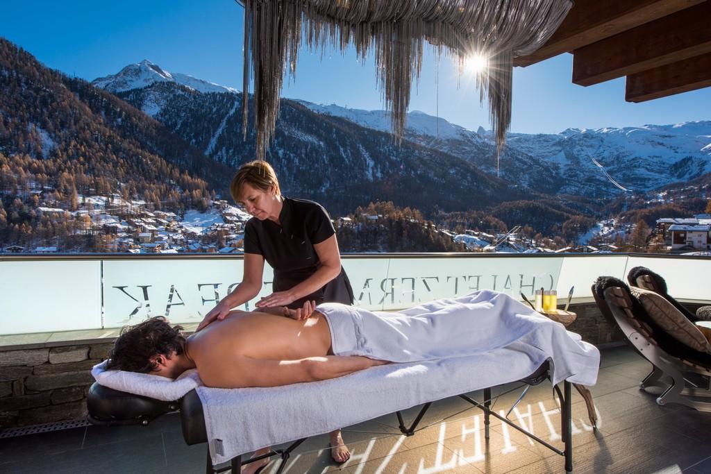 Massage and spa with views of matterhorn chalet Zermatt peak
