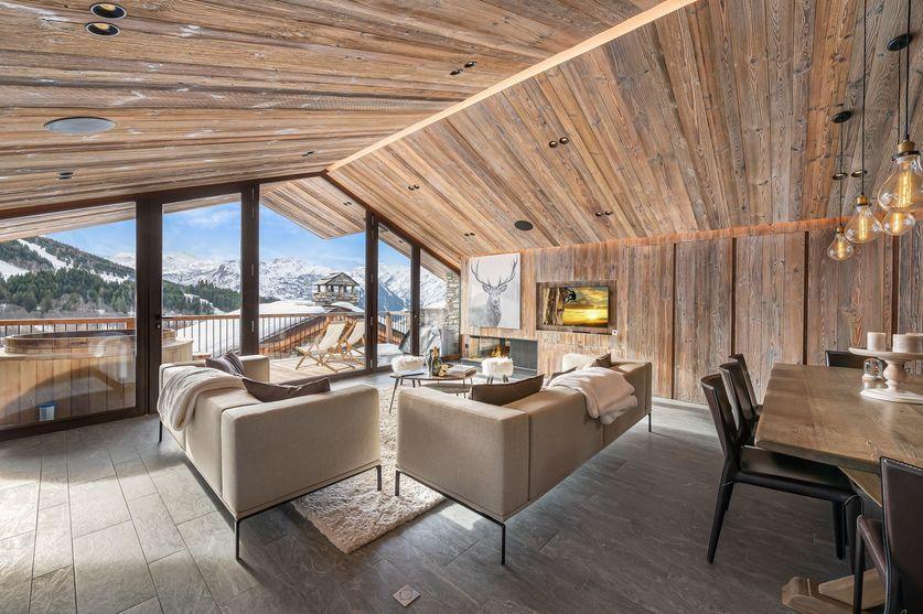 Living area day time chalet la Grange de Martinel