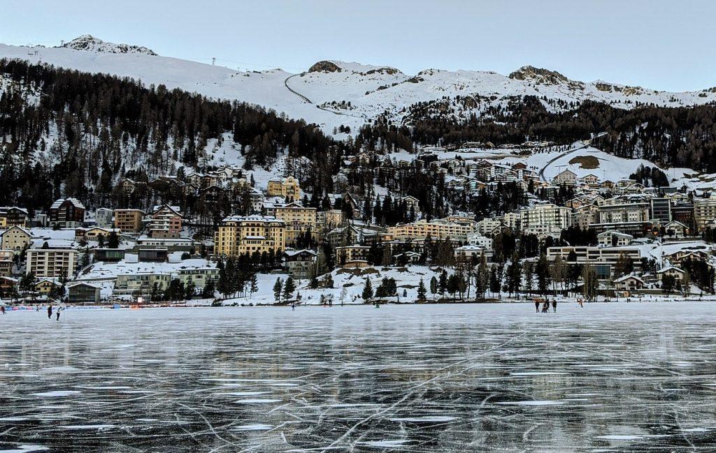 Lake St Moritz Frozen Winter
